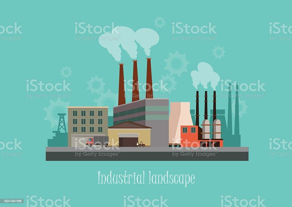Industryal background - industry factory. Flat style vector illustration vector art illustration