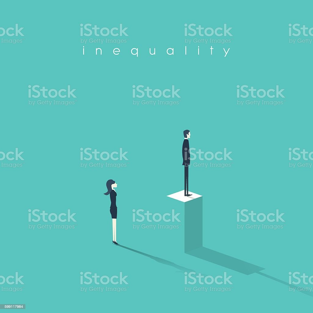 Inequality concept vector illustration man versus woman in business. Difference vector art illustration