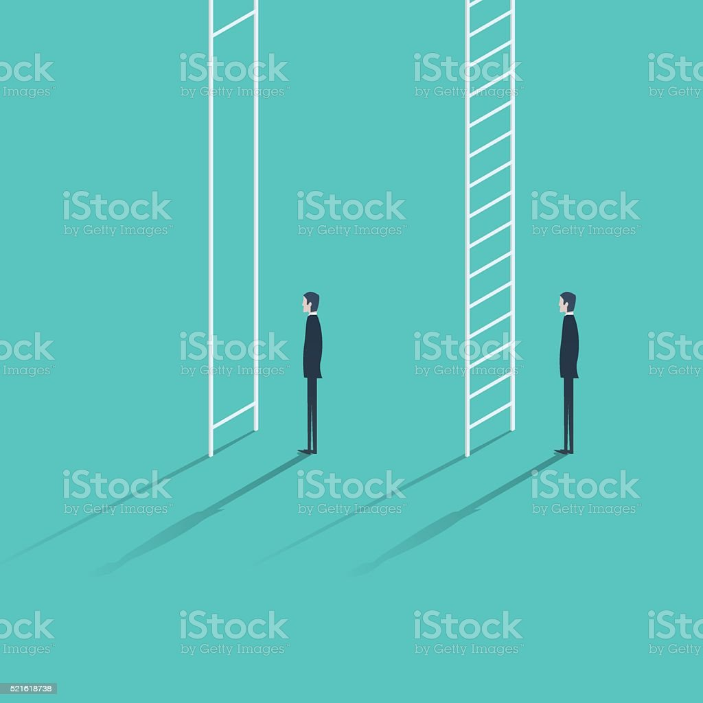 Inequality in career promotion concept. Two businessmen standing and climbing vector art illustration