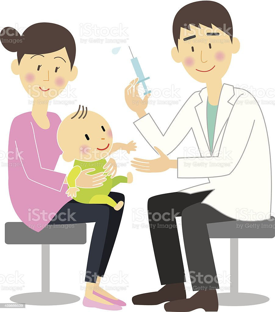 Infants vaccinated vector art illustration