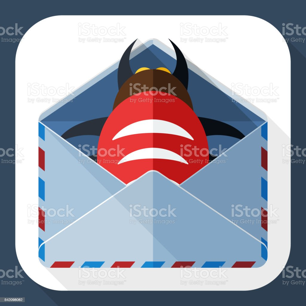 Infected email icon with long shadow vector art illustration
