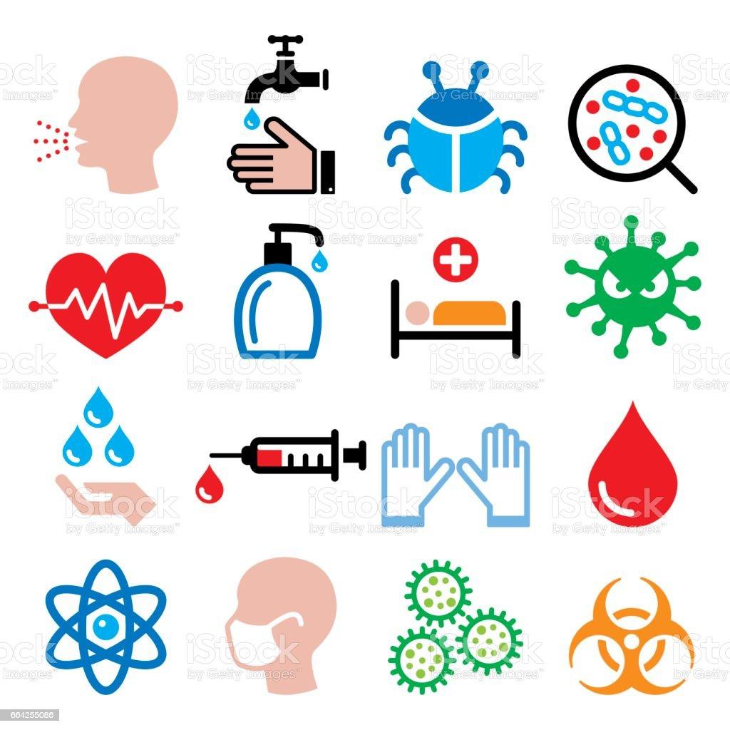 Infection, virus, sickness, getting flu - health icons set vector art illustration