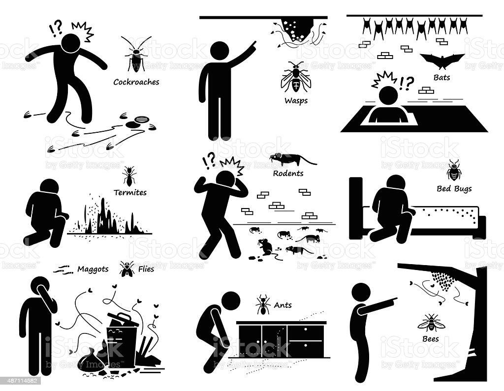 Infestation Cockroaches Wasp Bats Termites Rats Bugs Maggots Ants Bees vector art illustration