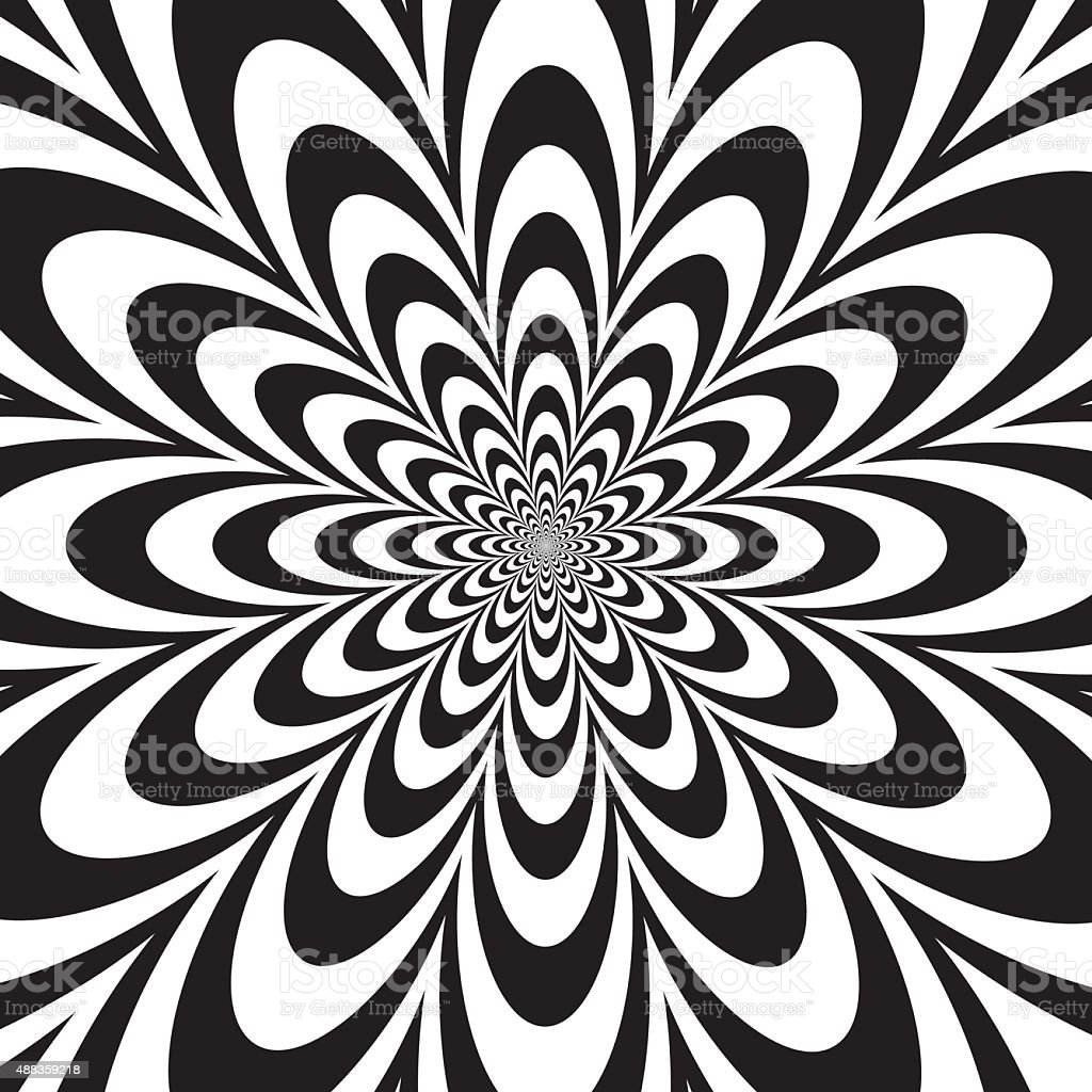 Infinite Flower in Black and White vector art illustration