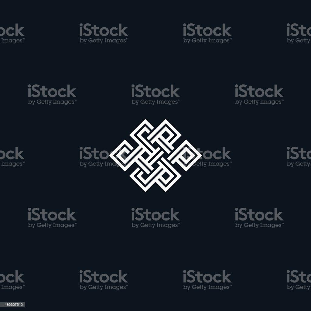 Infinite knot symbol on black vector art illustration