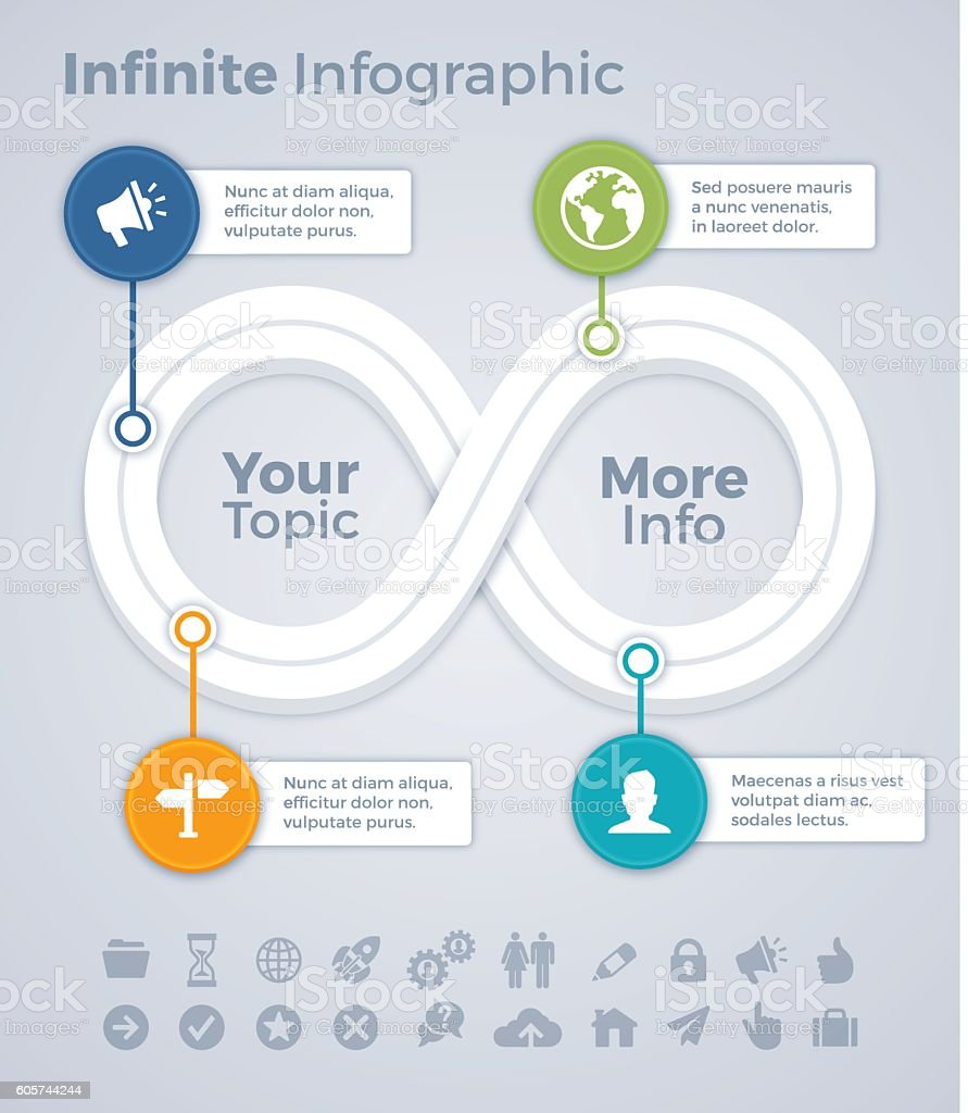 Infinite Loop Infographic Path vector art illustration