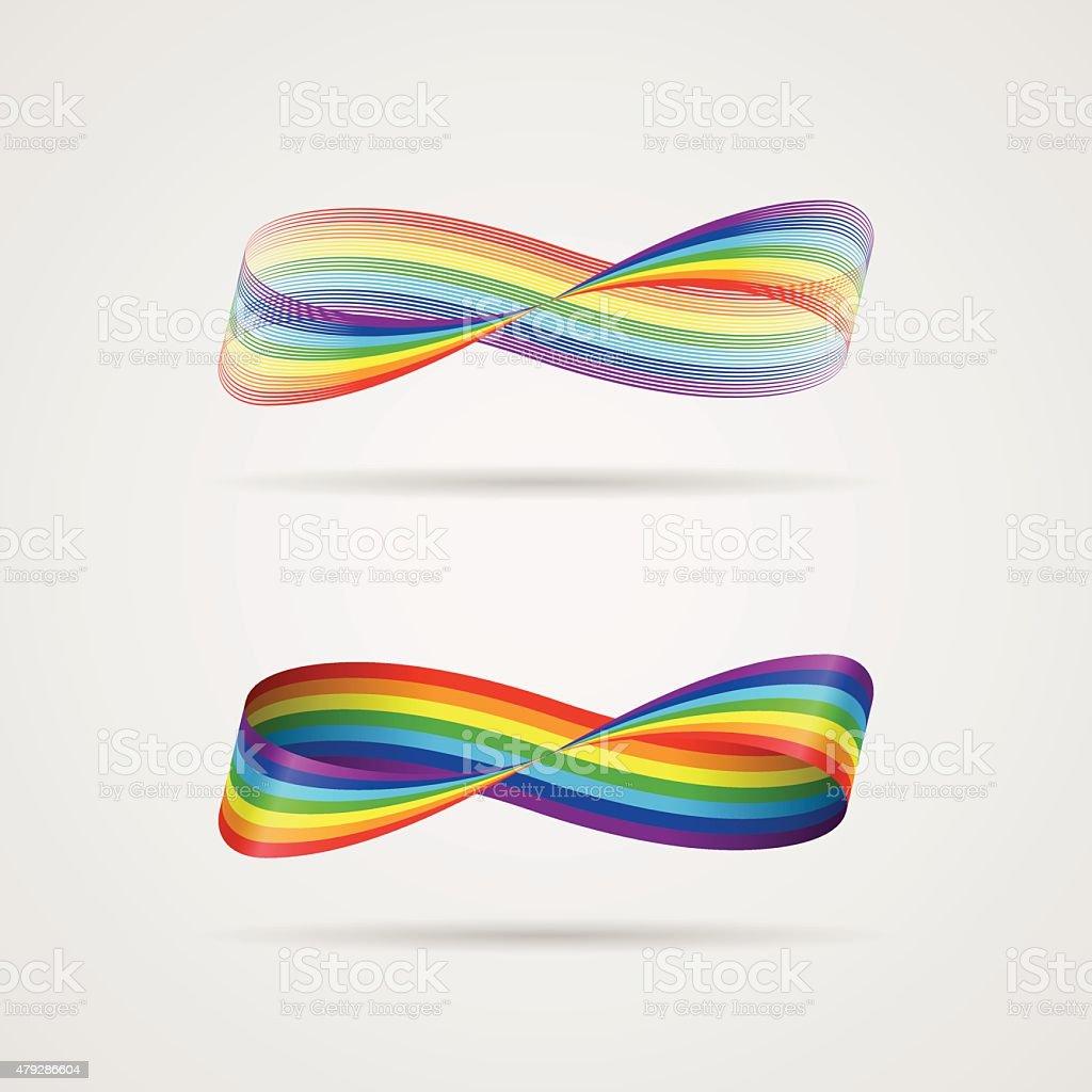 Infinite ribbon-rainbow vector art illustration