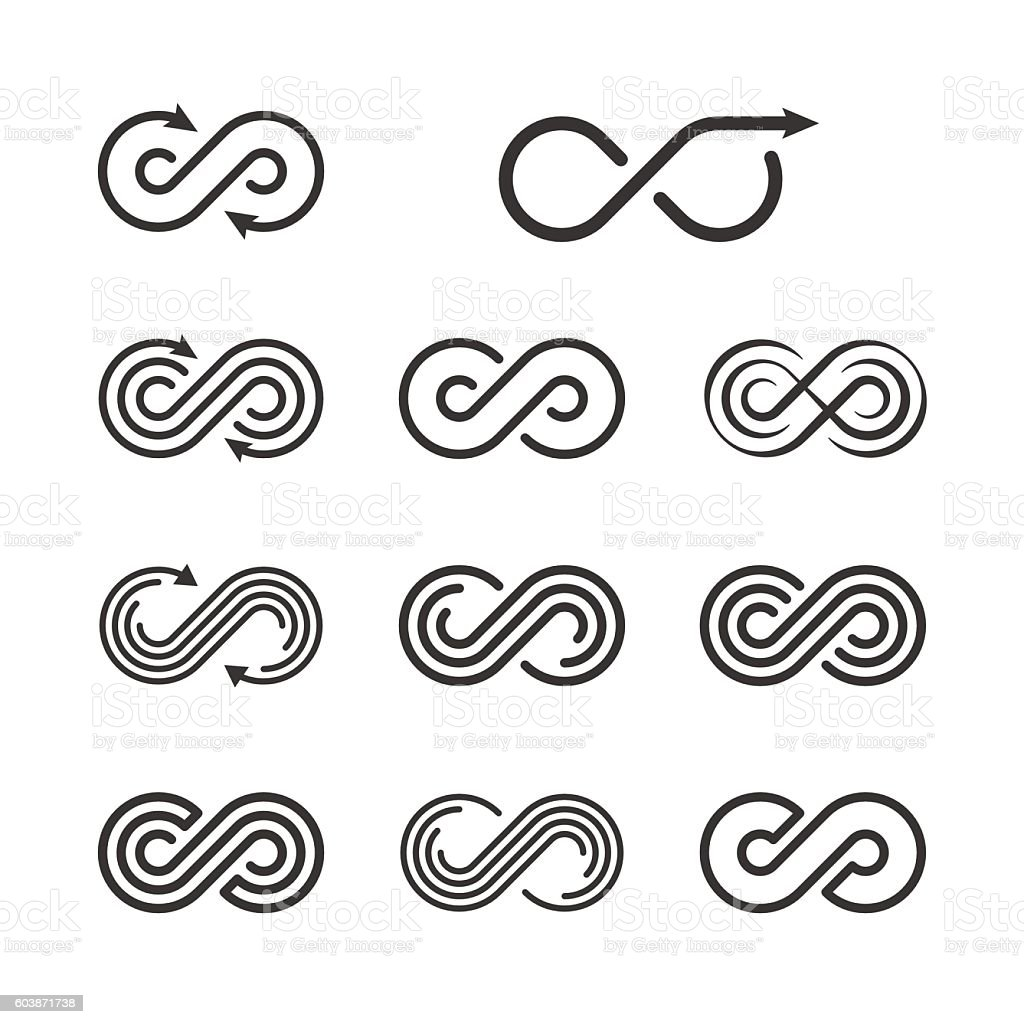 Infinity Logo Template Set. Infinite Symbol Icon Collection. Vec vector art illustration