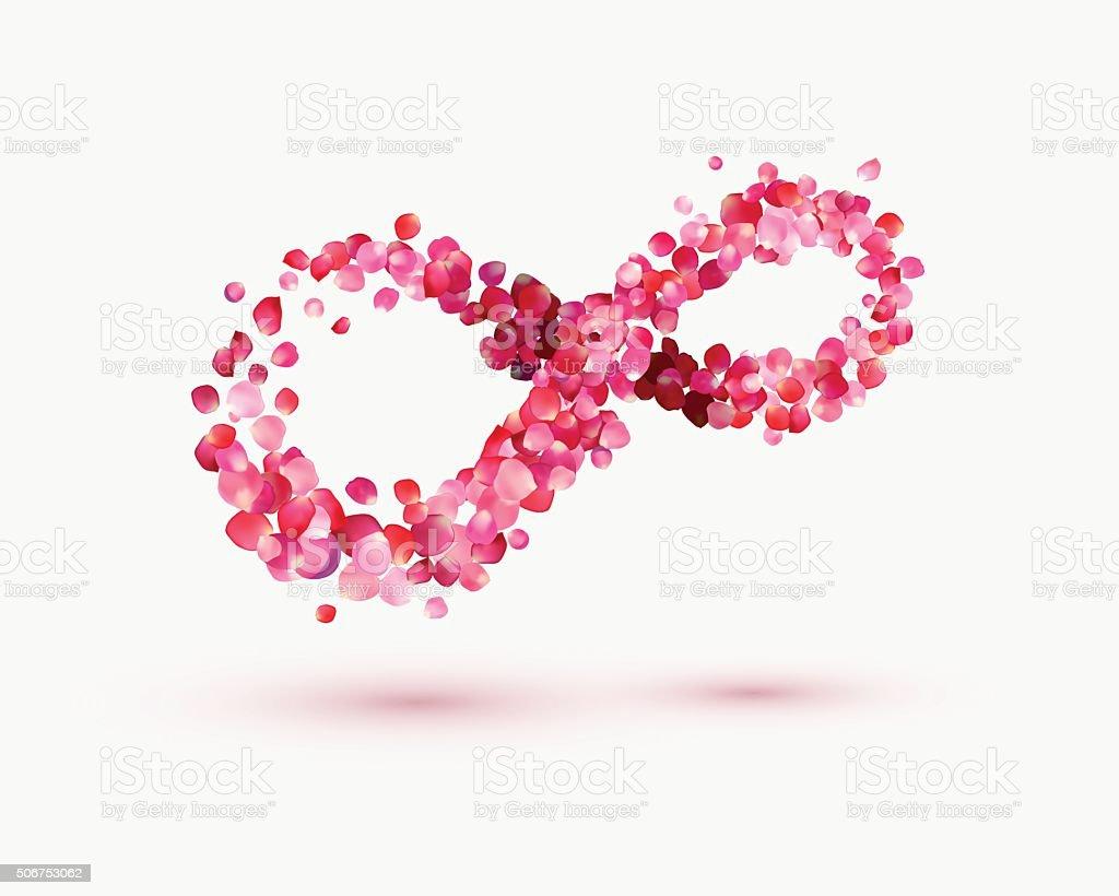 Infinity love Symbol of rose petals vector art illustration