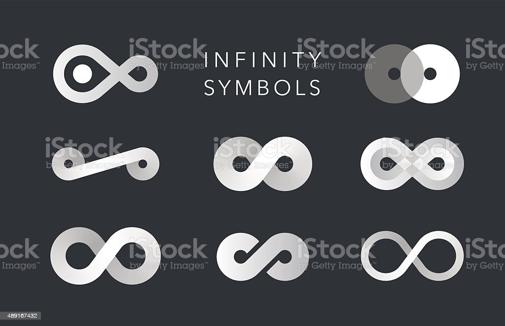 infinity monochrome symbols vector set vector art illustration