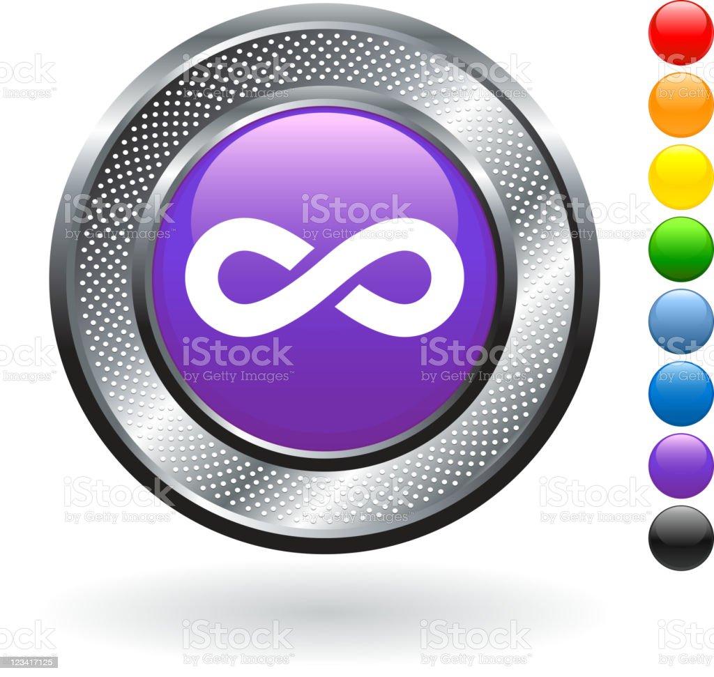 infinity royalty free vector art on metallic button royalty-free stock vector art