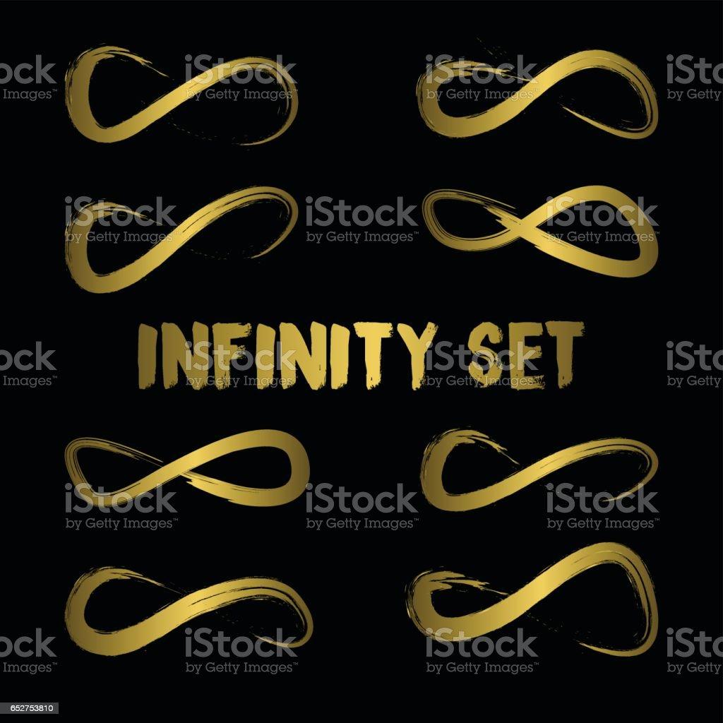 Infinity Symbol Collection Sets. Hand Drawn symbol Concept vector art illustration