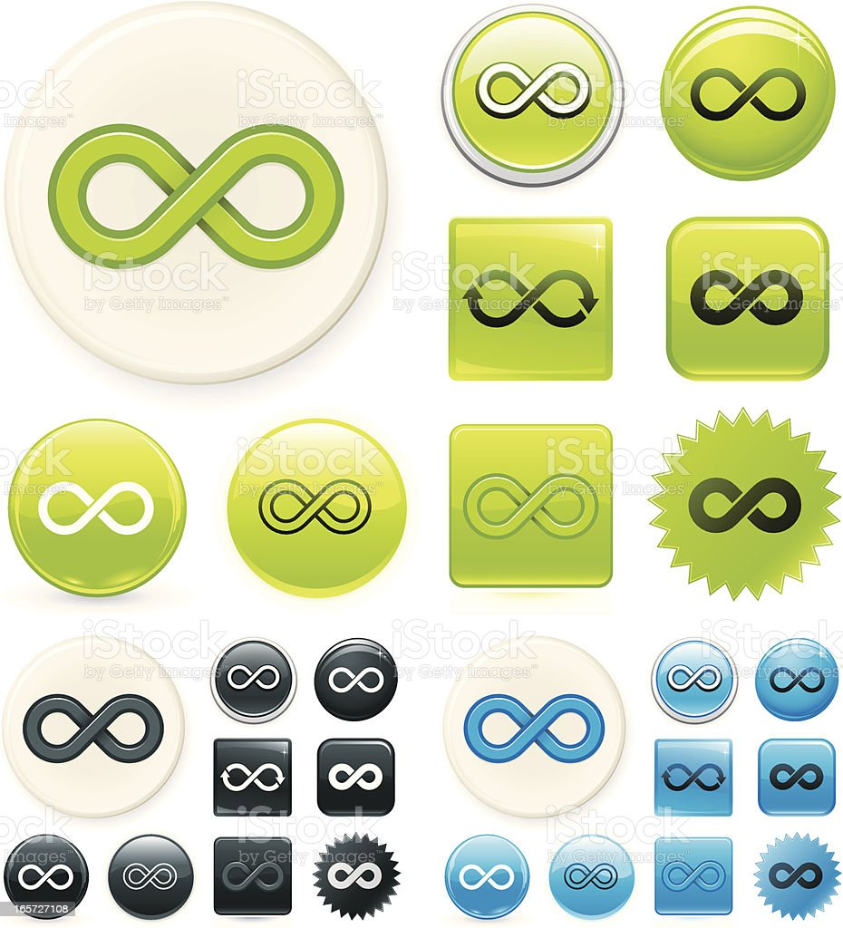 Infinity symbol on buttons royalty-free stock vector art