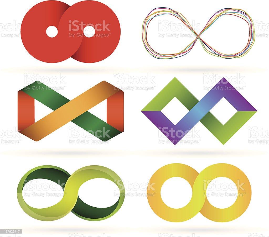 Infinity symbol set vector art illustration