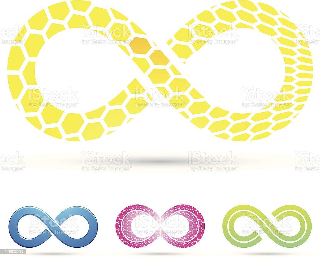 Symbole infini avec motif en nid d'abeille stock vecteur libres de droits libre de droits