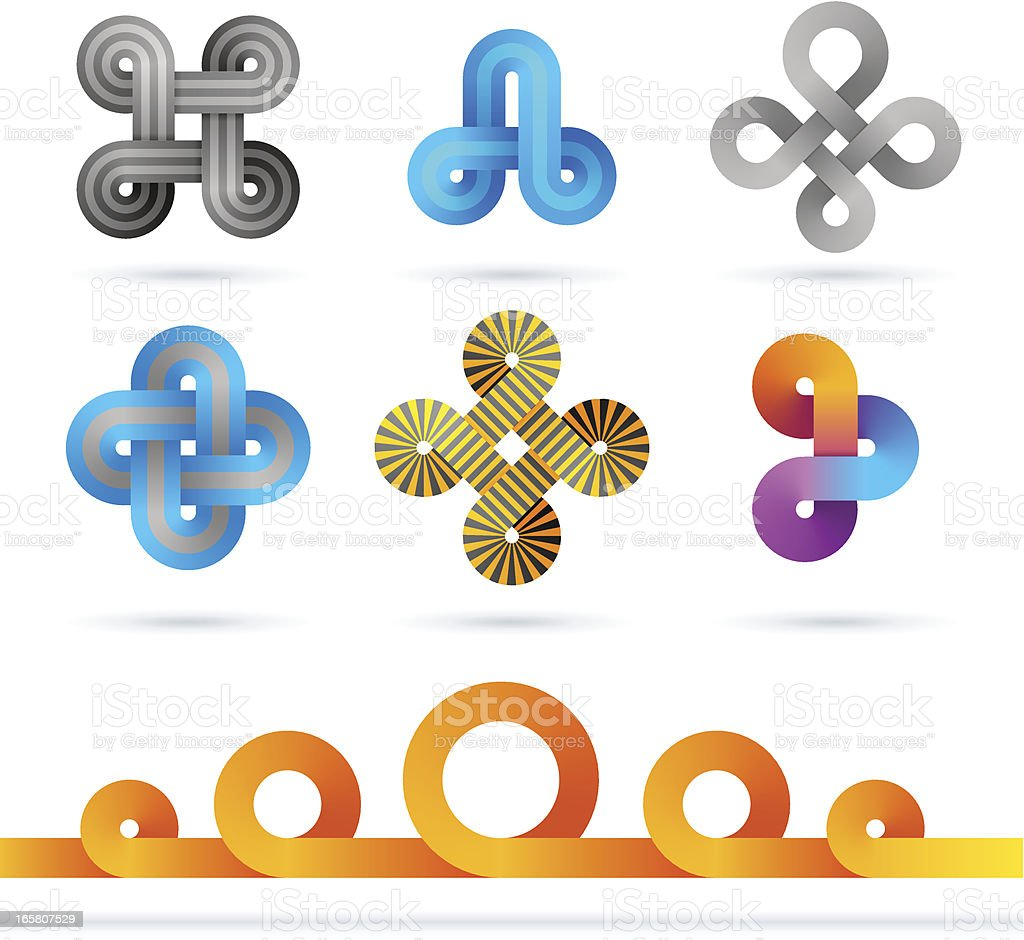 Infinity-shaped designs in a variety of colors royalty-free stock vector art