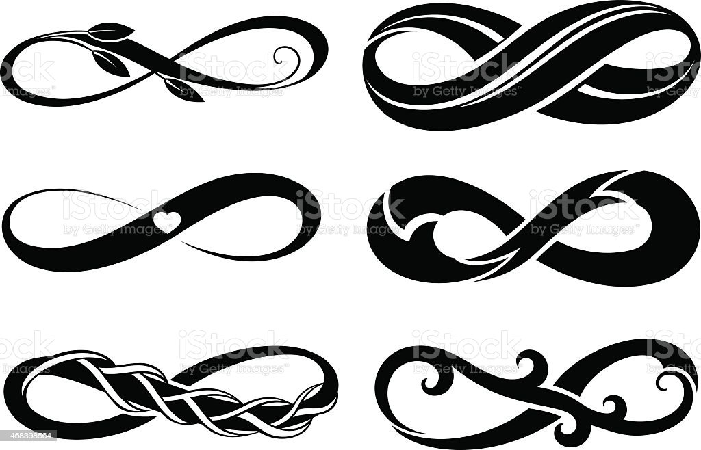 Infinity.Tattoo symbols vector art illustration