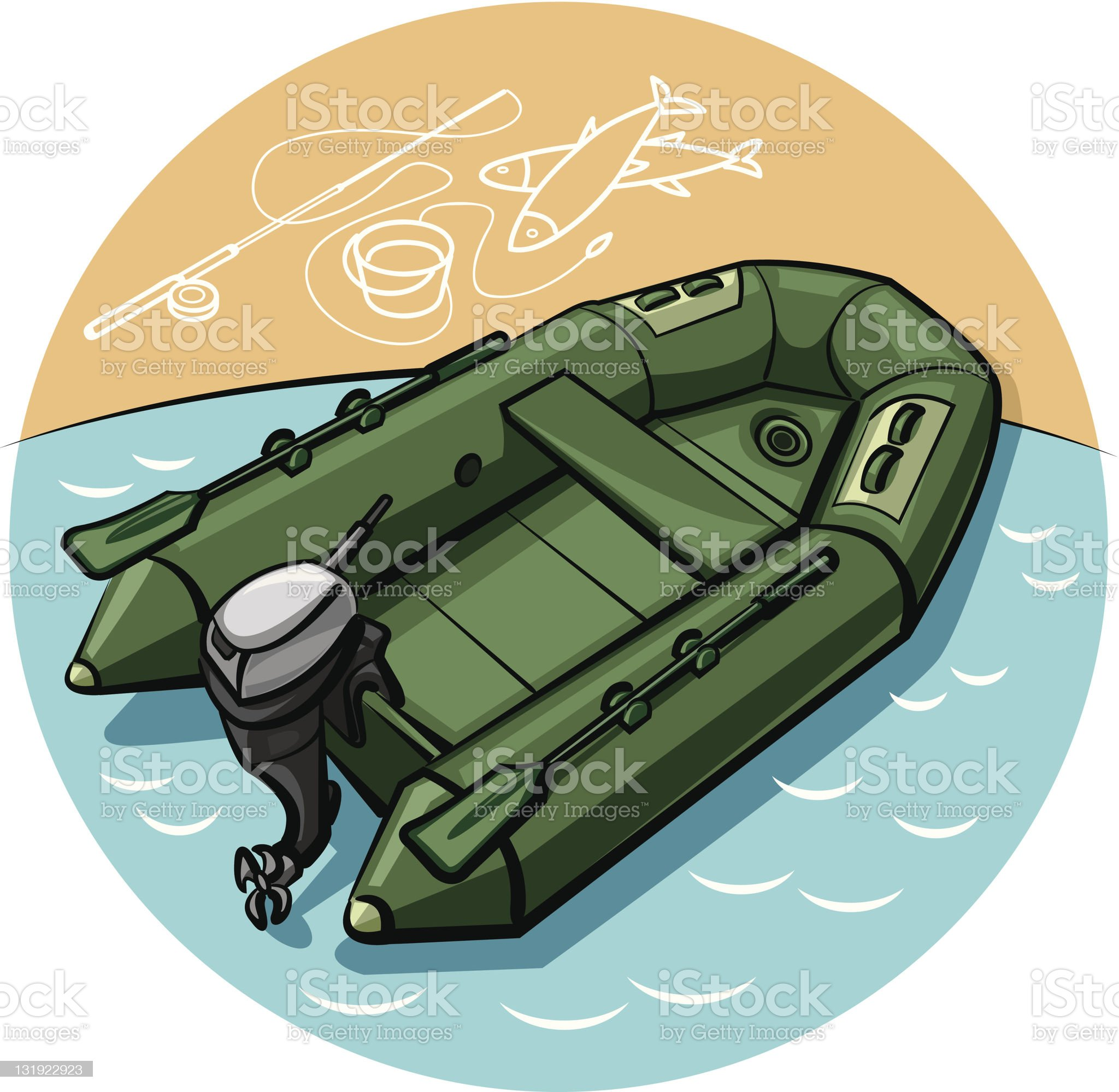 inflatable boat royalty-free stock vector art