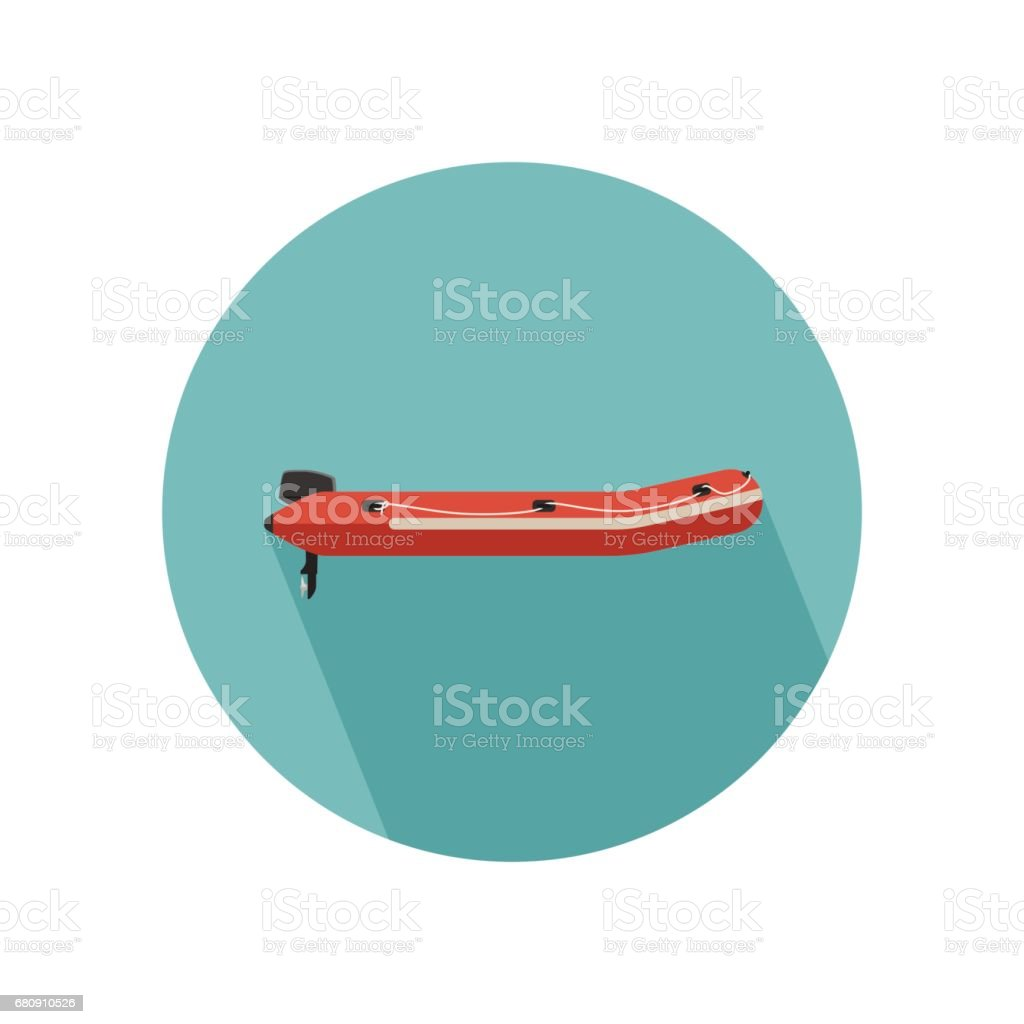 Inflatable red boat vector art illustration