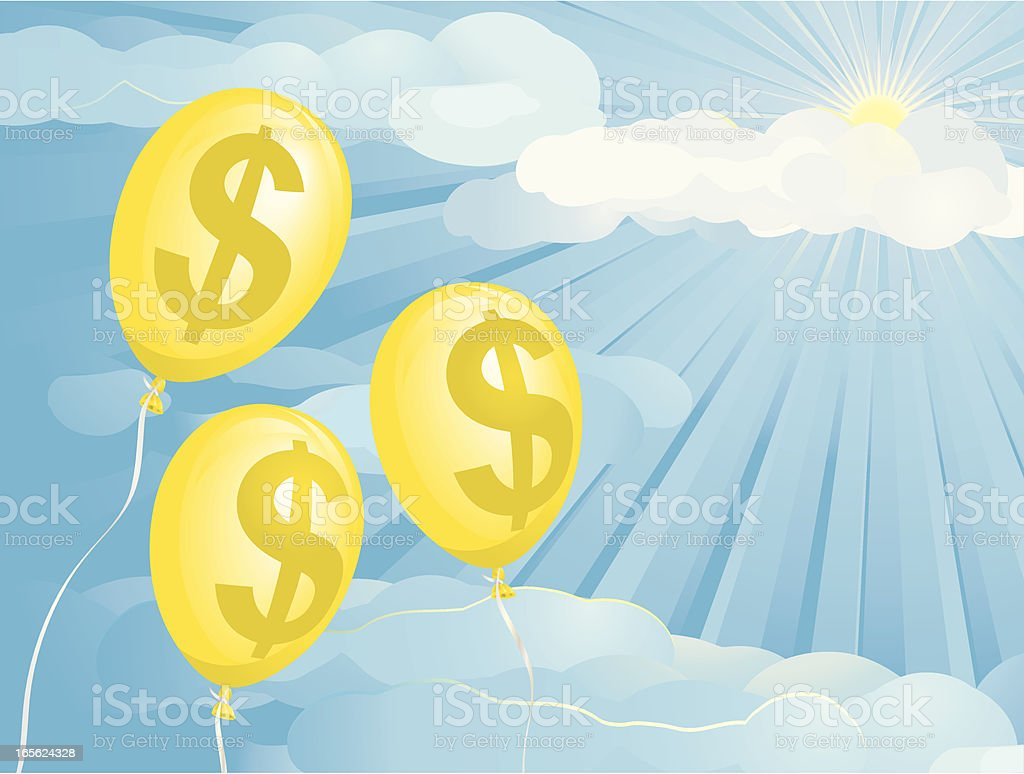 Inflation Dollar Balloons royalty-free stock vector art