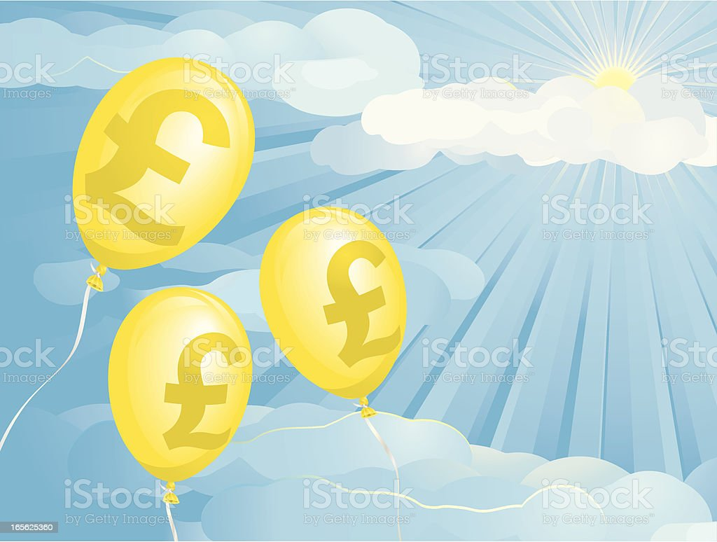 Inflation Pounds Balloons royalty-free stock vector art