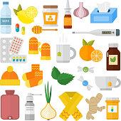 Influenza flu icons vector set.