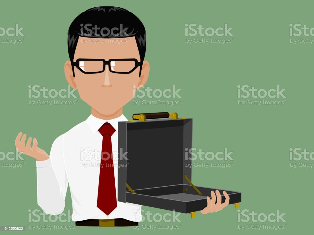 Info Graphic Businessman holding an empty bag vector art illustration