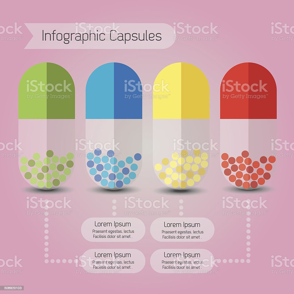 Info graphic close up of colorful capsules on pink background vector art illustration