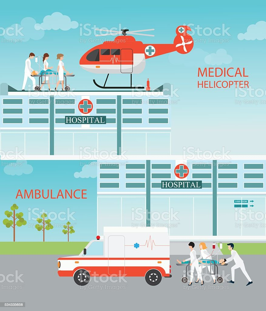 Info graphic of Medical emergency chopper helicopter and Ambulance. vector art illustration