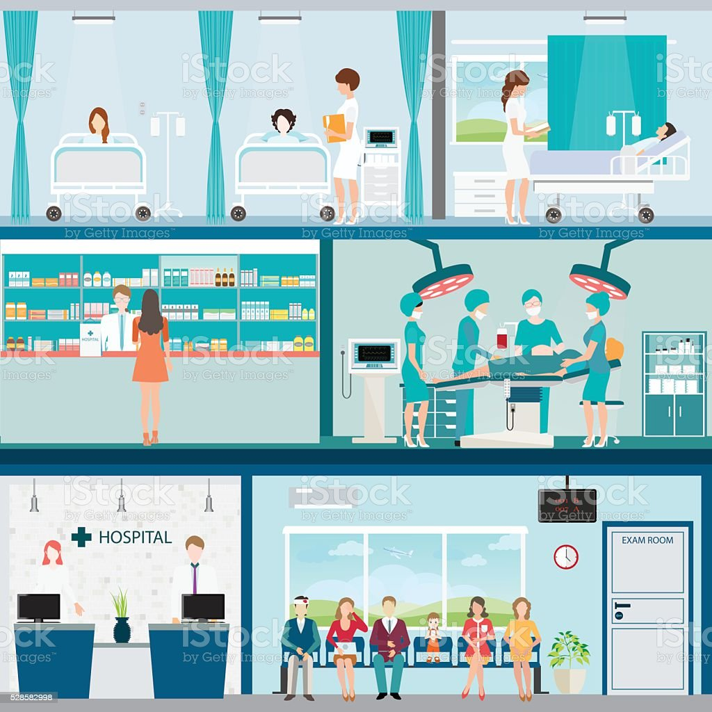 Info graphic of Medical hospital surgery operation room. vector art illustration