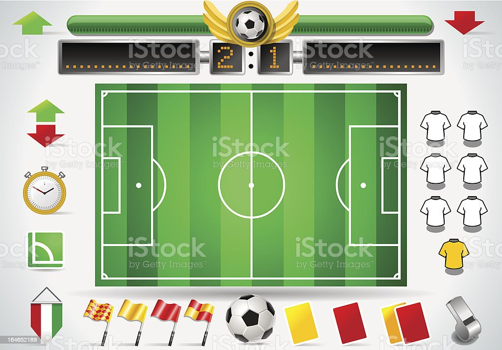 Info Graphic Set of Soccer Field and Icons royalty-free stock vector art