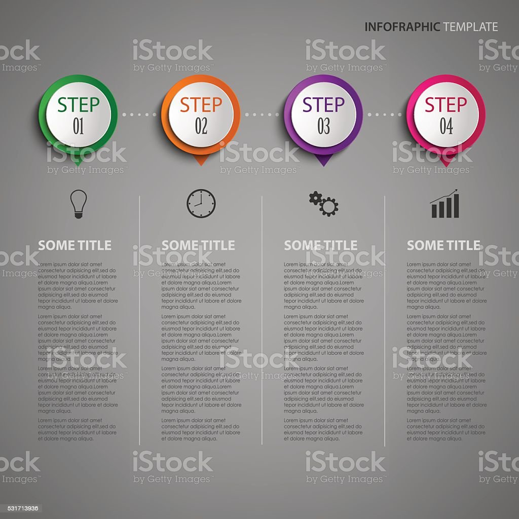 Info graphic with design pointer on dark background vector art illustration