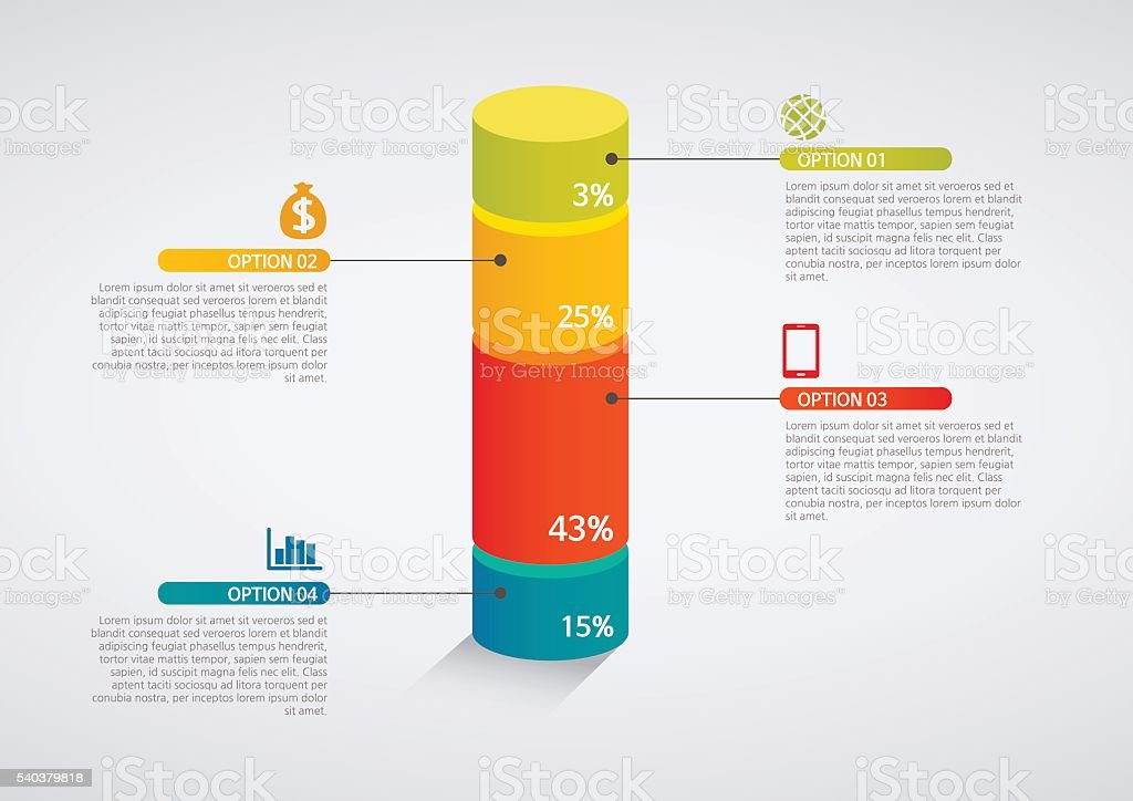 info graphics - colorful graph,cylinder vector art illustration
