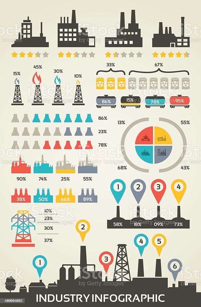 Info graphics industry vector art illustration