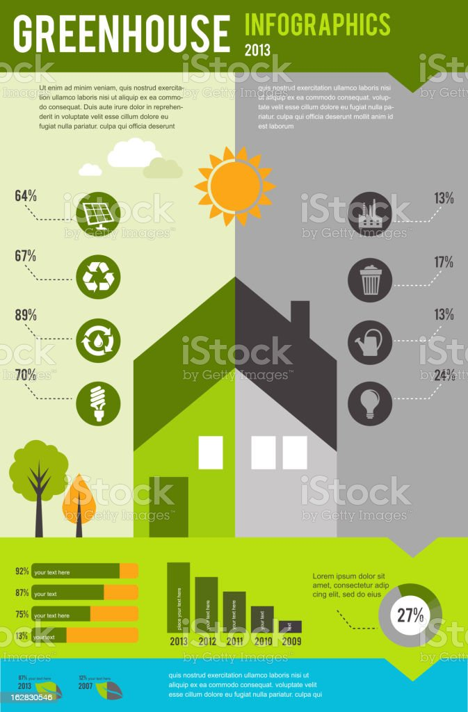 info graphics of ecology and green house, concept design royalty-free stock vector art