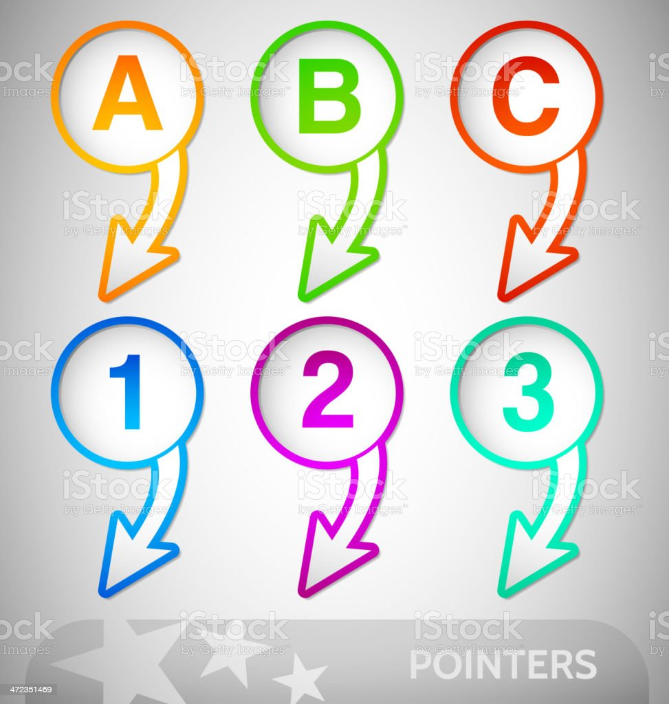Info Pointers with numbers and Letters royalty-free stock vector art