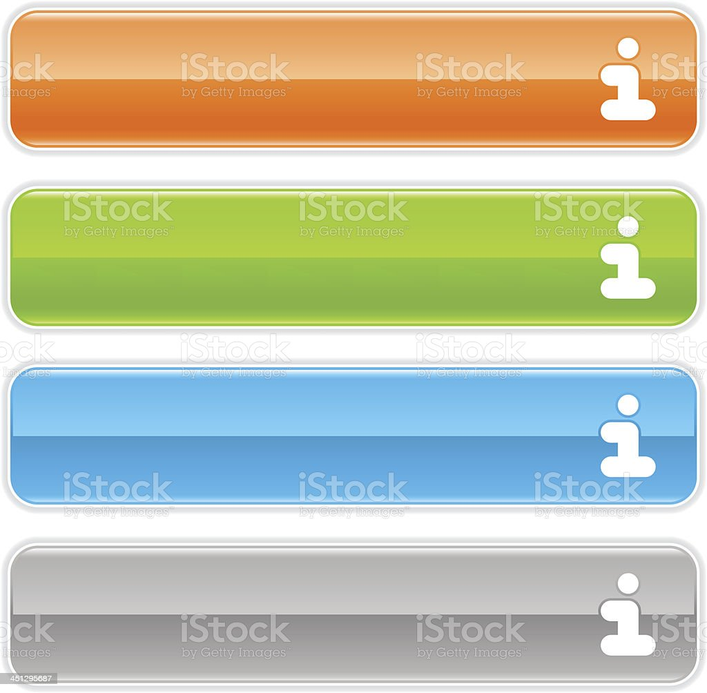 Info sign glossy icon orange green blue gray rectangle button royalty-free stock vector art
