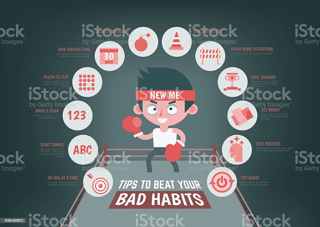 infographic about tips to change your bad habit vector art illustration