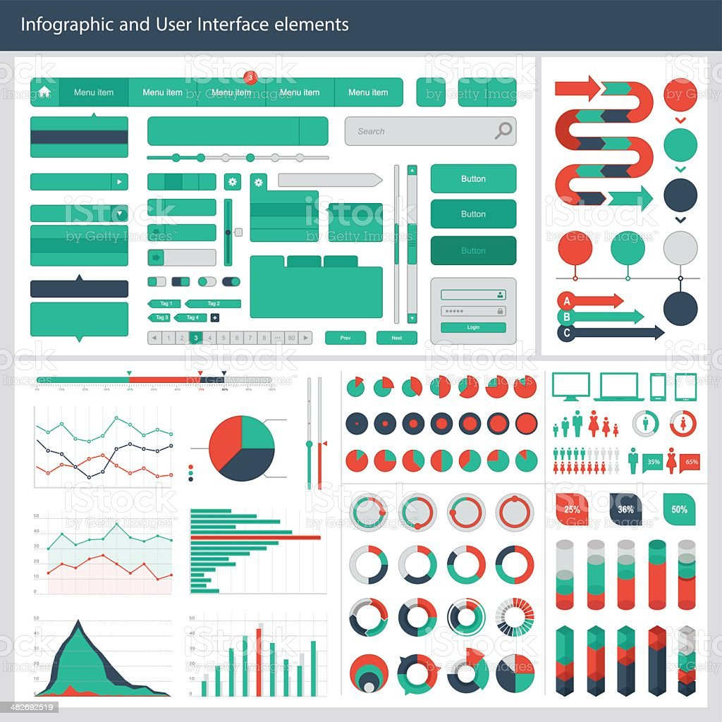 Infographic and User interface Elements vector art illustration