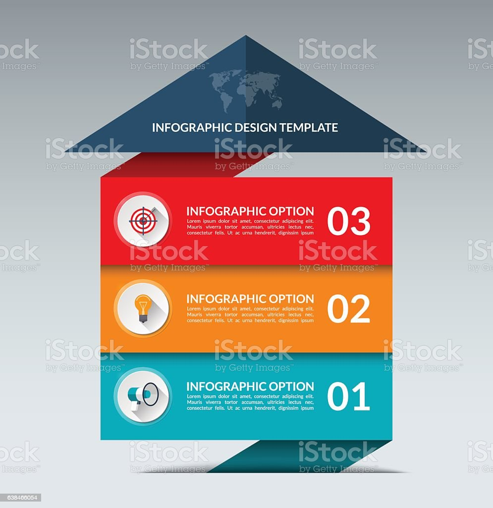Infographic arrow design template with 3 options vector art illustration