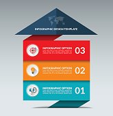 Infographic arrow design template with 3 options
