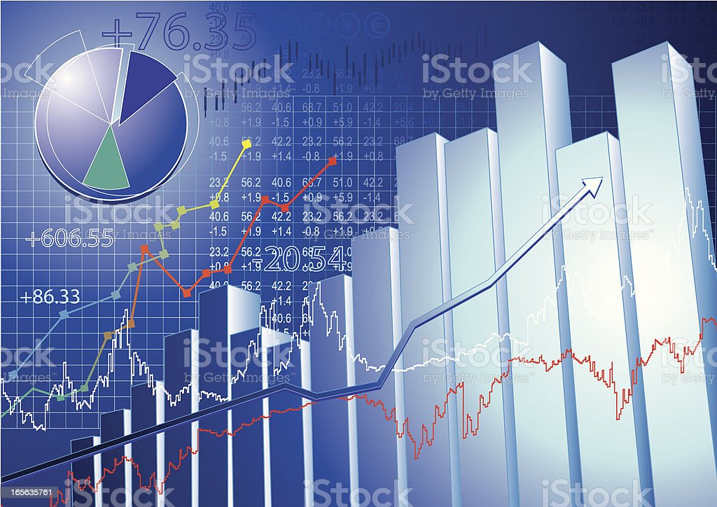 Infographic bar chart representing the stock market royalty-free stock vector art