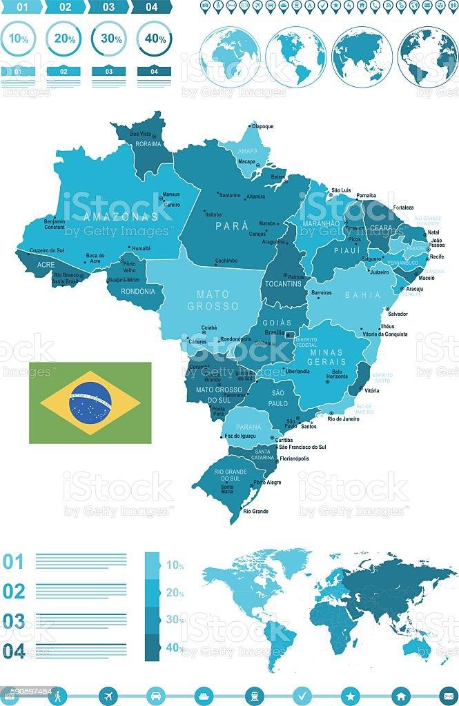 Infographic Brazil Map vector art illustration