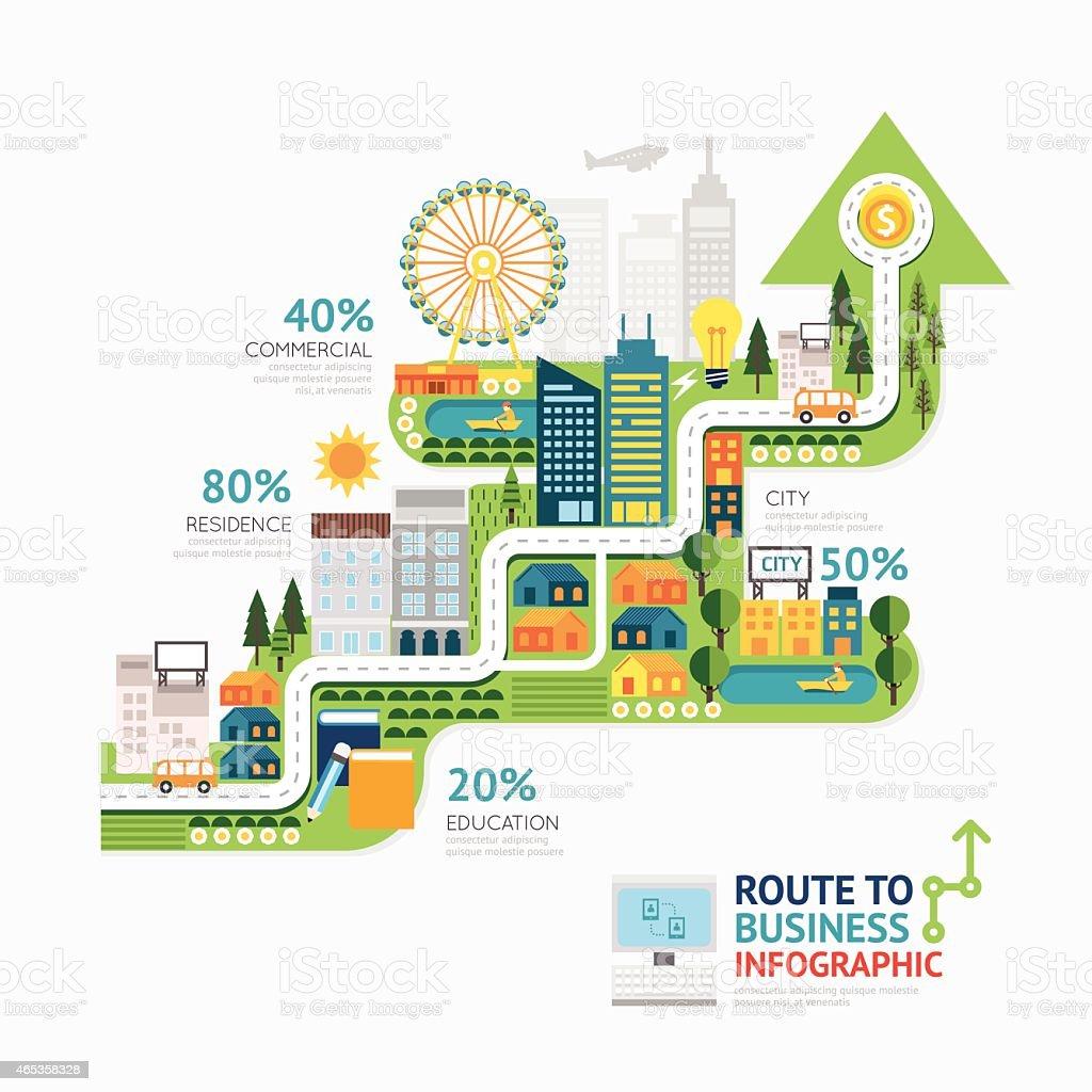 Infographic business arrow shape template design.route to success vector art illustration