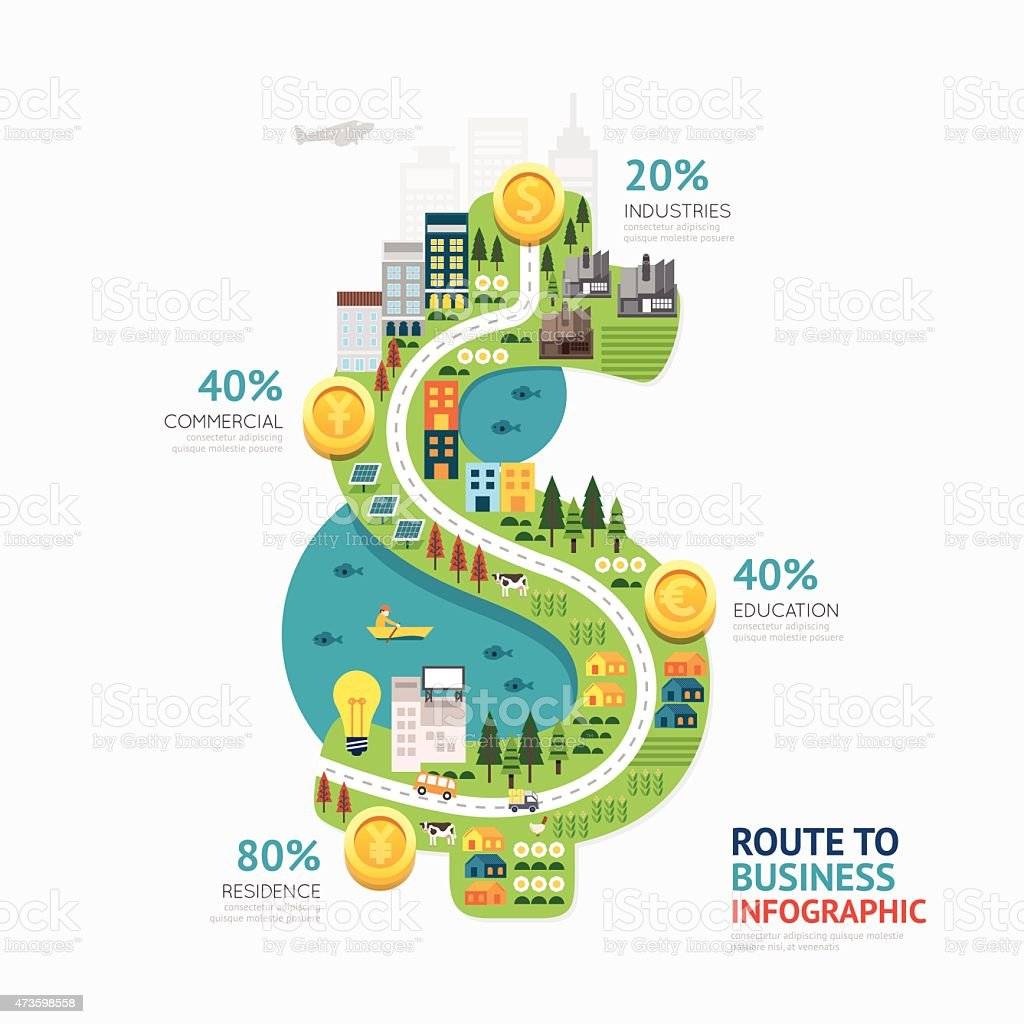 Infographic business money dollar shape template design. vector art illustration