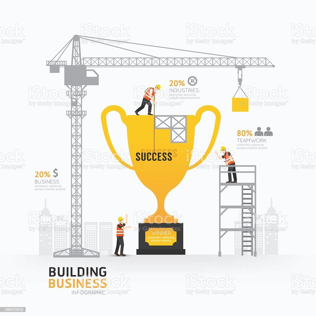 Infographic business trophies shape template design. vector art illustration
