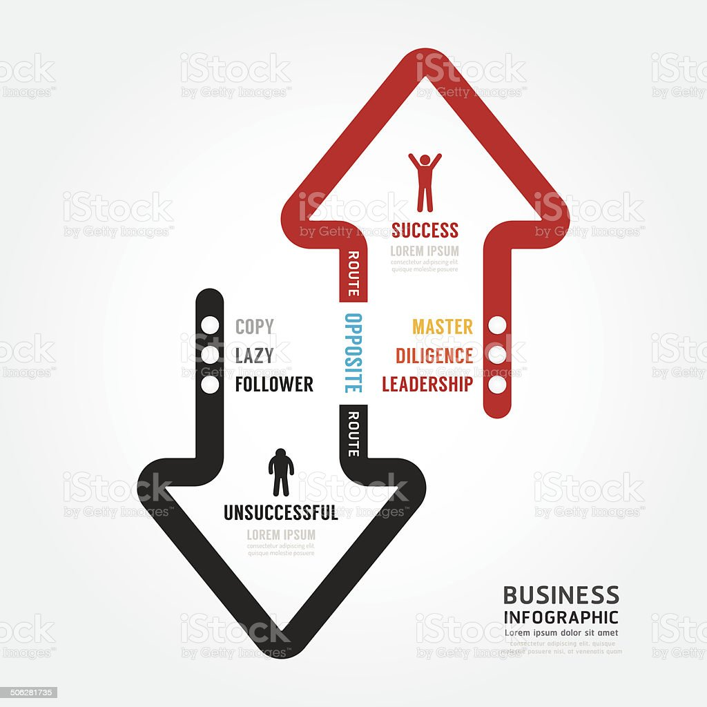 Infographic bussiness. route to success concept template design vector art illustration
