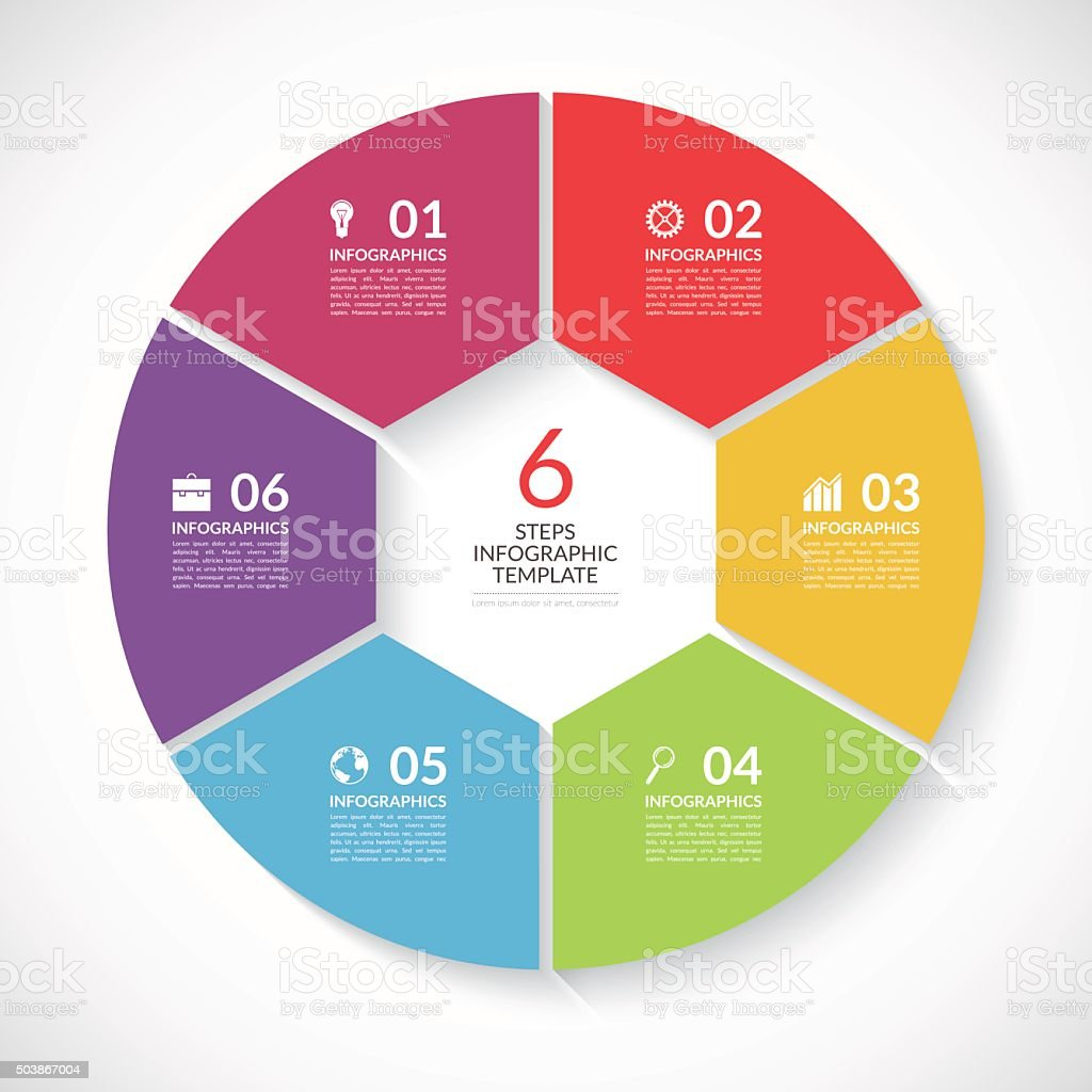 Infographic circle banner. Vector template with 6 steps, parts, options vector art illustration