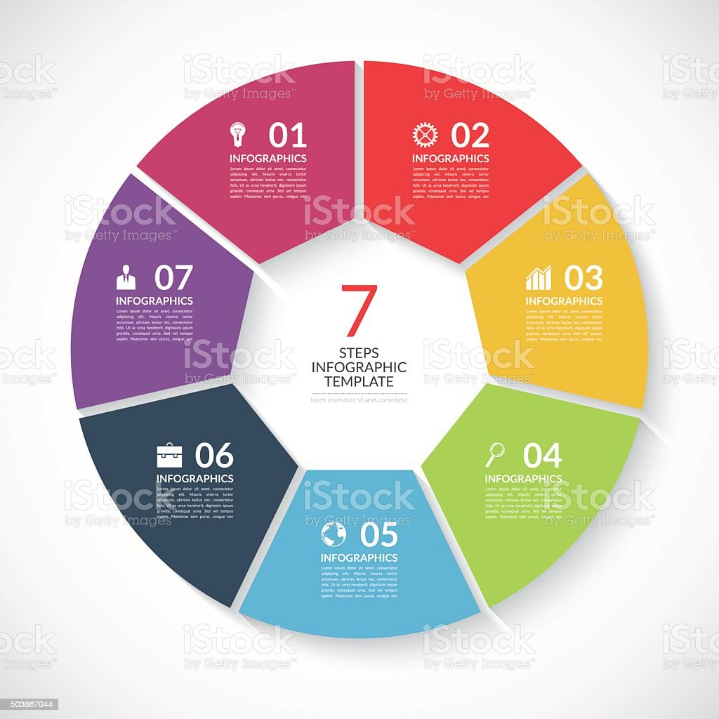 Infographic circle banner. Vector template with 7 steps, parts, options vector art illustration