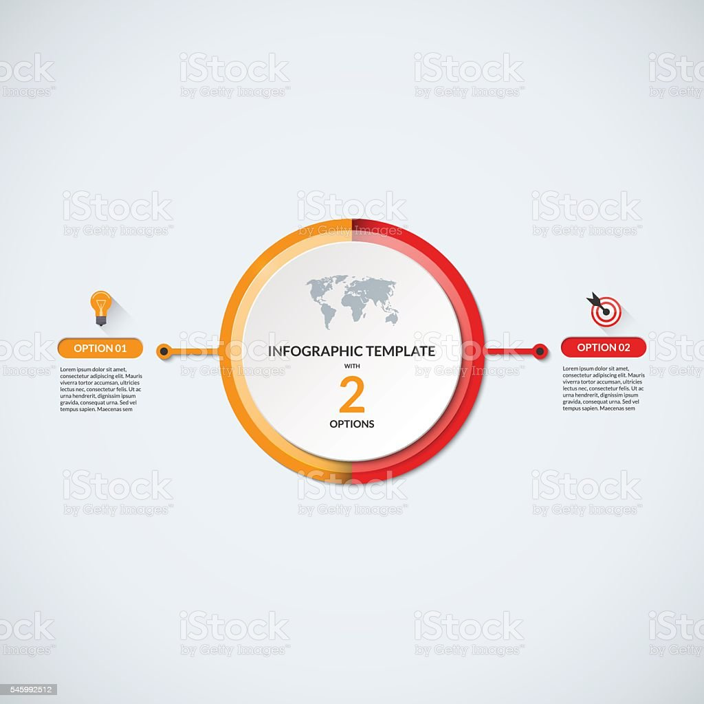 Infographic circle diagram template with 2 options vector art illustration